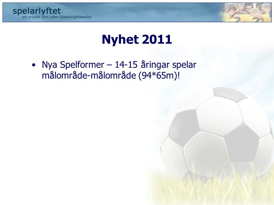 Nyhet 2011 •Nya Spelformer – 14-15 åringar spelar målområde-målområde (94*65m)!