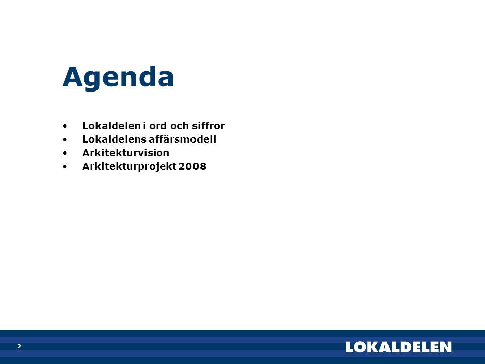 2 Agenda •Lokaldelen i ord och siffror •Lokaldelens affärsmodell •Arkitekturvision •Arkitekturprojekt 2008
