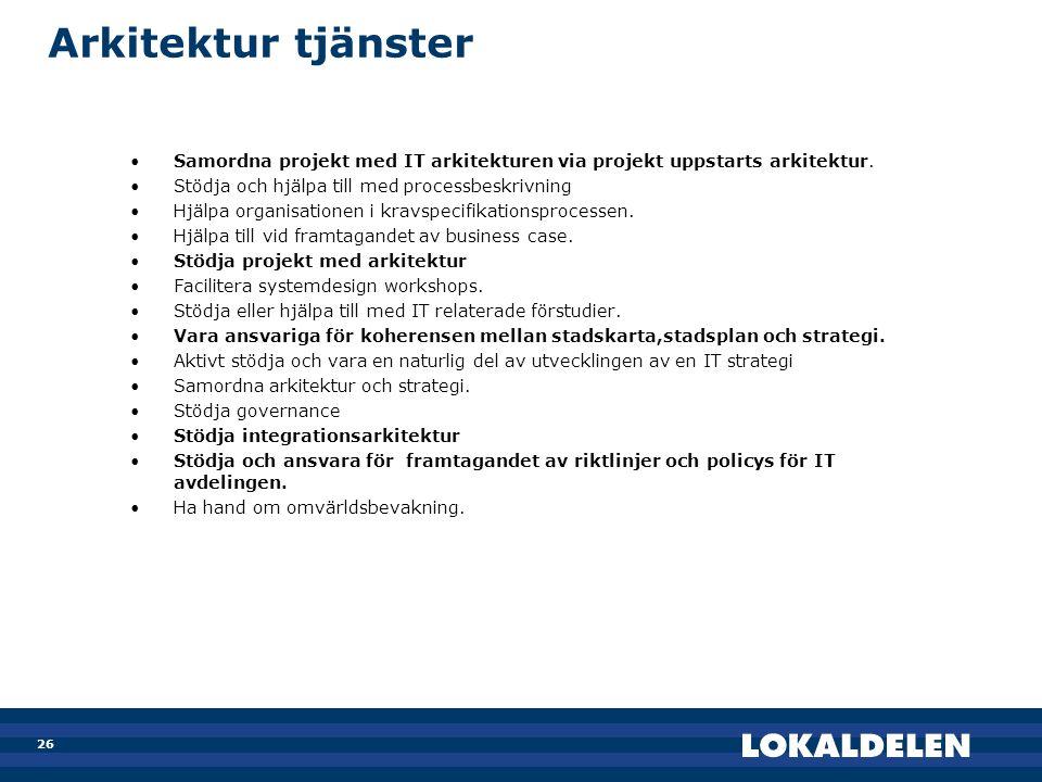 26 Arkitektur tjänster •Samordna projekt med IT arkitekturen via projekt uppstarts arkitektur. •Stödja och hjälpa till med processbeskrivning •Hjälpa
