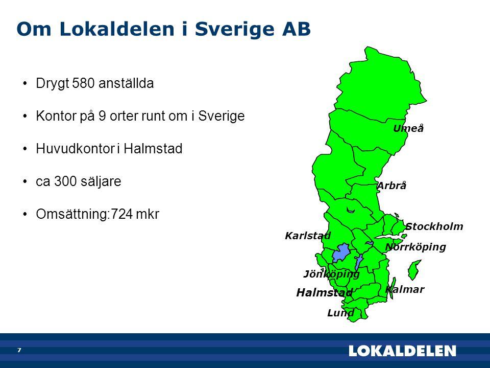 8 –Varje år delas drygt 4 miljoner LOKALDELEN-kataloger kostnadsfritt ut via posten till alla företag och hushåll på 245 orter från norr till söder i Sverige.