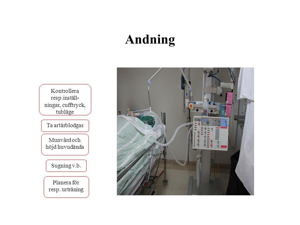 Andning Kontrollera resp.inställ- ningar, cufftryck, tubläge Ta artärblodgas Planera för resp. urträning Sugning v.b. Munvård och höjd huvudända