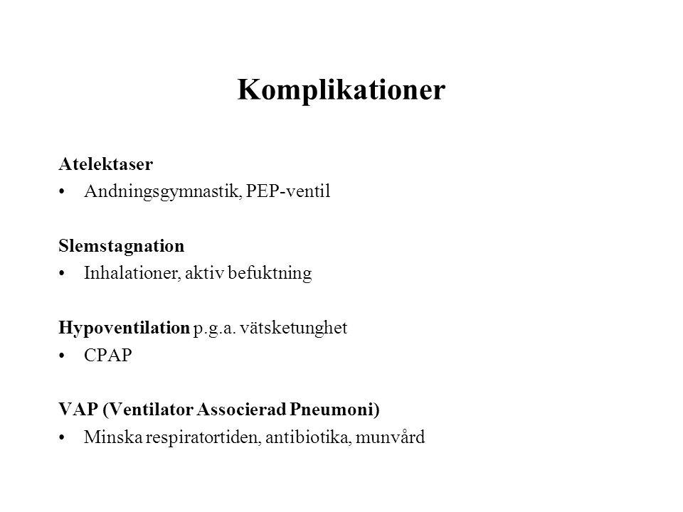 Komplikationer Atelektaser •Andningsgymnastik, PEP-ventil Slemstagnation •Inhalationer, aktiv befuktning Hypoventilation p.g.a. vätsketunghet •CPAP VA