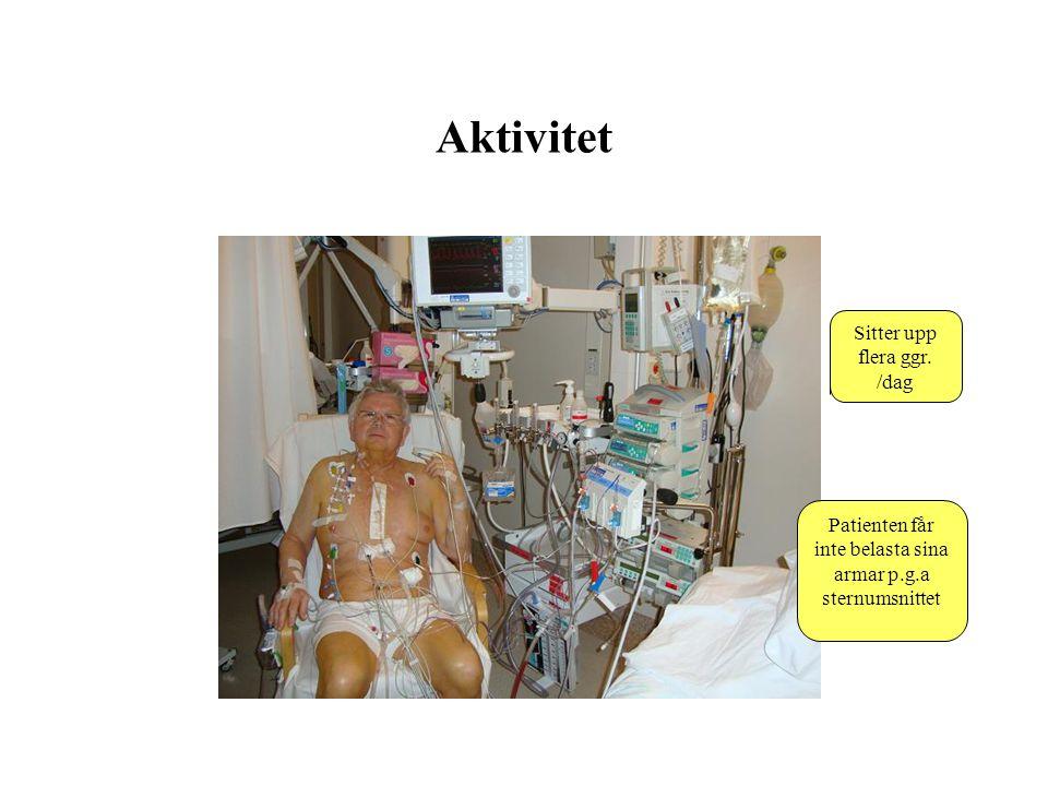 Aktivitet Patienten får inte belasta sina armar p.g.a sternumsnittet Sitter upp flera ggr. /dag