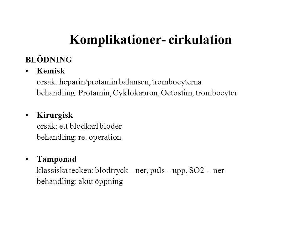 Komplikationer- cirkulation BLÖDNING •Kemisk orsak: heparin/protamin balansen, trombocyterna behandling: Protamin, Cyklokapron, Octostim, trombocyter