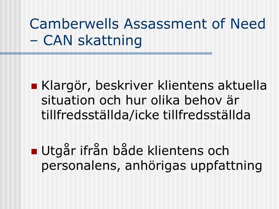 Camberwells Assassment of Need – CAN skattning  Klargör, beskriver klientens aktuella situation och hur olika behov är tillfredsställda/icke tillfred