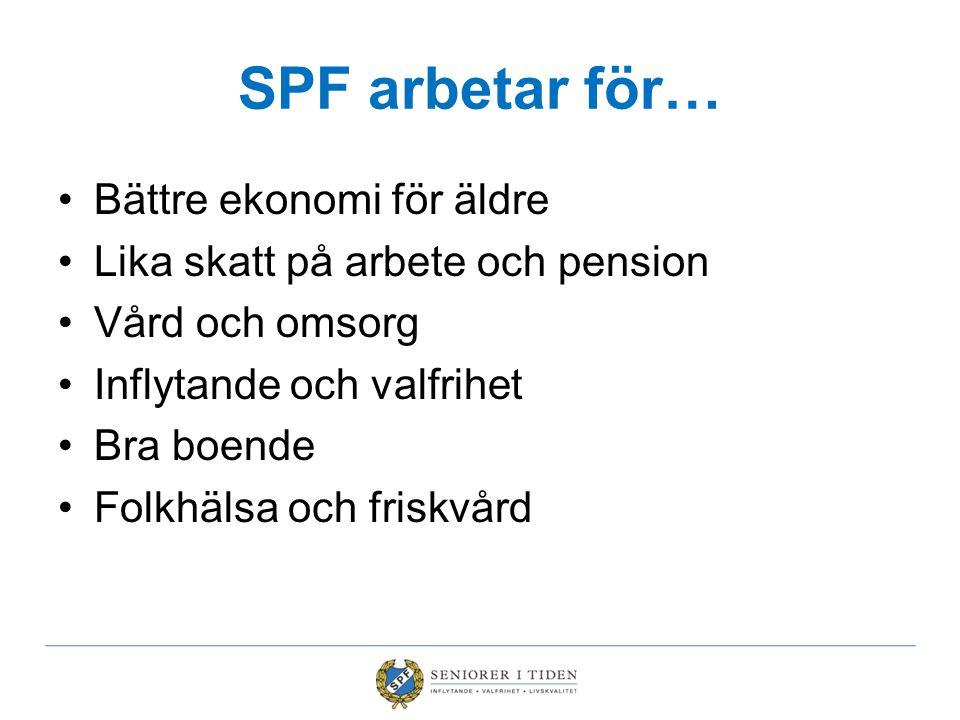 SPF arbetar för… •Bättre ekonomi för äldre •Lika skatt på arbete och pension •Vård och omsorg •Inflytande och valfrihet •Bra boende •Folkhälsa och fri