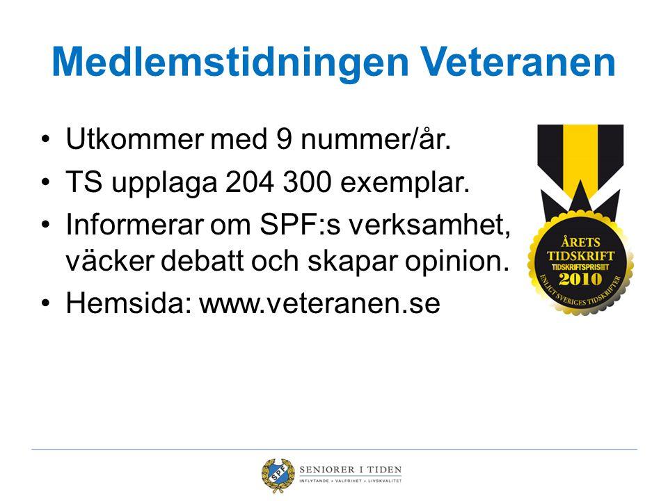 •Utkommer med 9 nummer/år. •TS upplaga 204 300 exemplar. •Informerar om SPF:s verksamhet, väcker debatt och skapar opinion. •Hemsida: www.veteranen.se