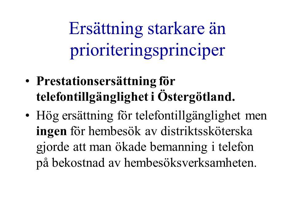 Ersättning starkare än prioriteringsprinciper •Prestationsersättning för telefontillgänglighet i Östergötland. •Hög ersättning för telefontillgängligh