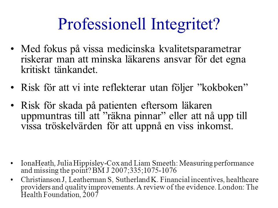 Professionell Integritet? •Med fokus på vissa medicinska kvalitetsparametrar riskerar man att minska läkarens ansvar för det egna kritiskt tänkandet.