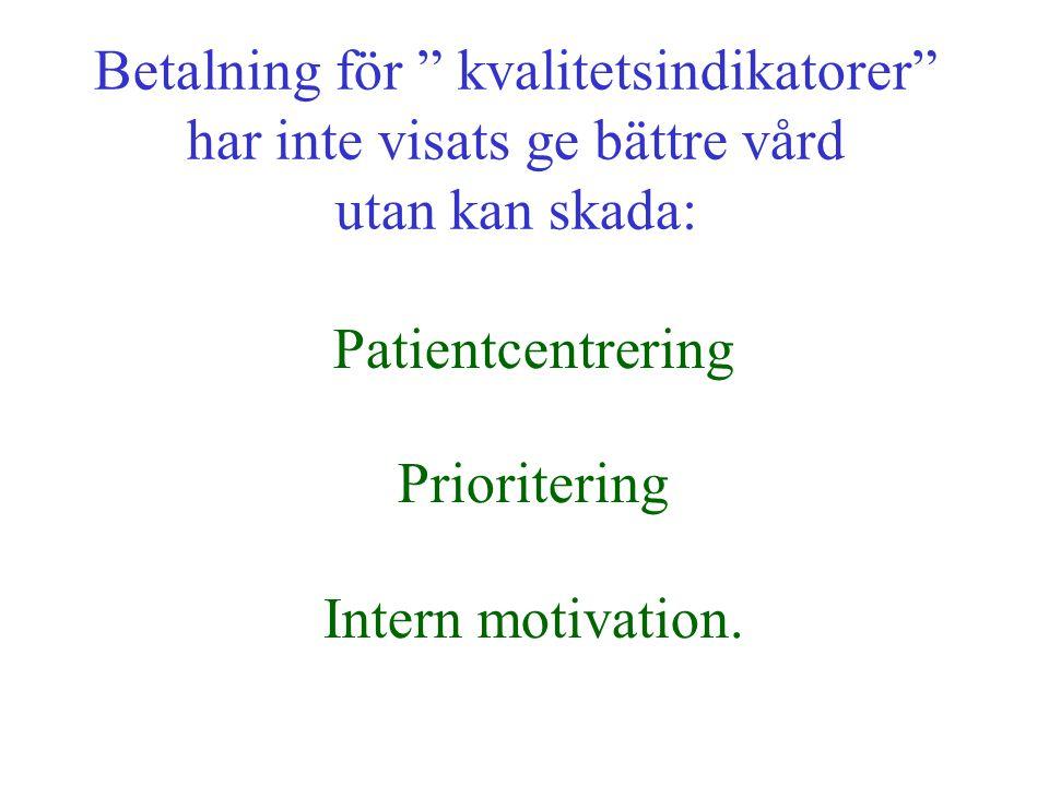 """Betalning för """" kvalitetsindikatorer"""" har inte visats ge bättre vård utan kan skada: Patientcentrering Prioritering Intern motivation."""