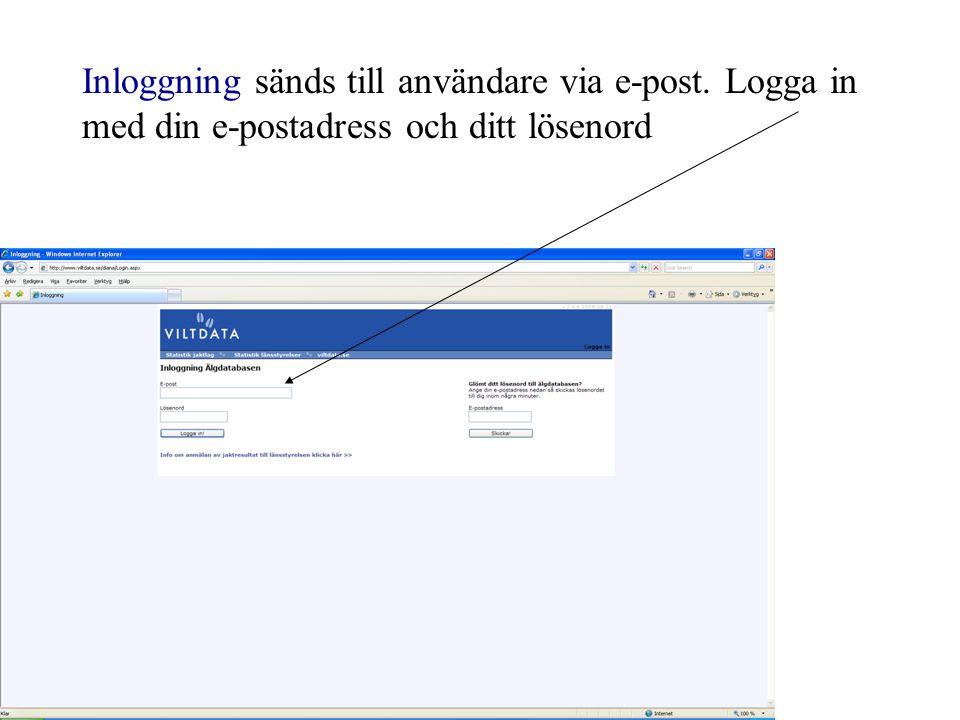 Inloggning sänds till användare via e-post. Logga in med din e-postadress och ditt lösenord