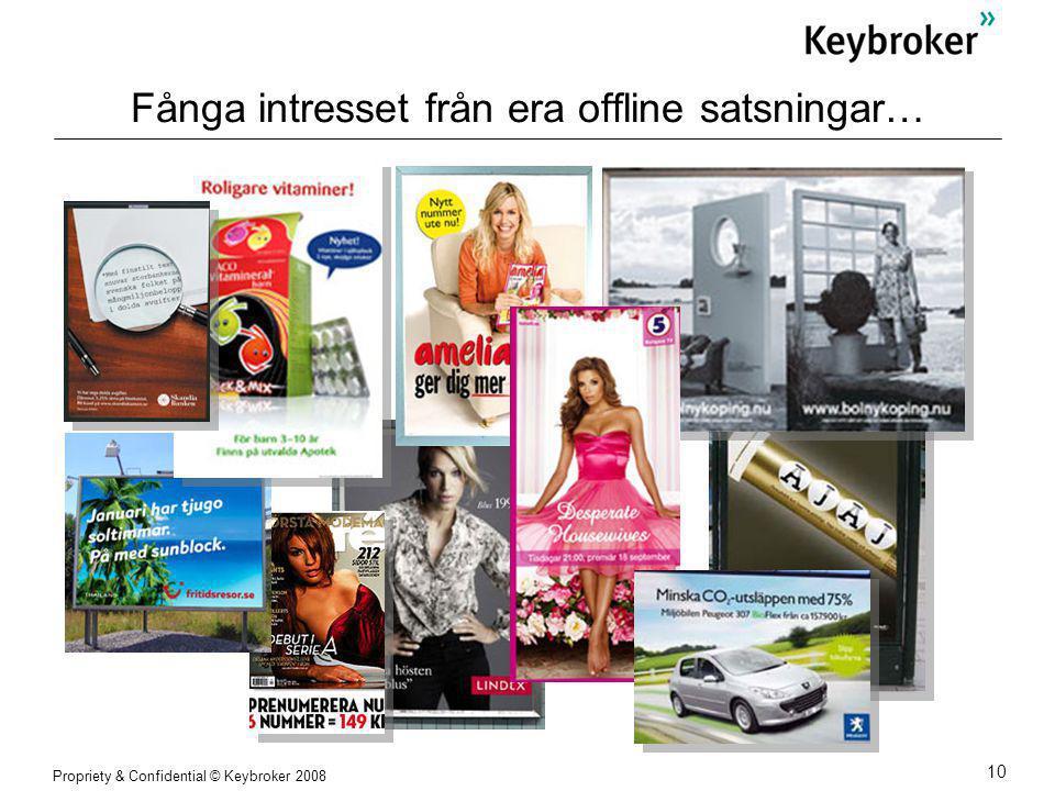 Propriety & Confidential © Keybroker 2008 10 Fånga intresset från era offline satsningar…