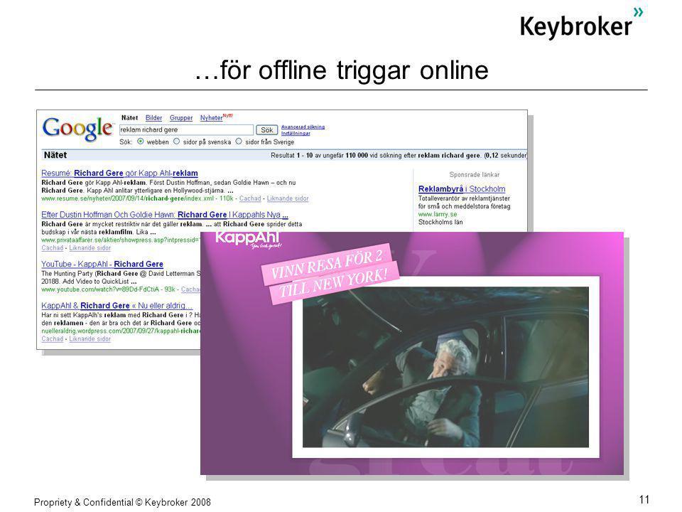 Propriety & Confidential © Keybroker 2008 11 …för offline triggar online
