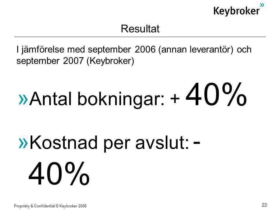 Propriety & Confidential © Keybroker 2008 22 Resultat  Antal bokningar: + 40%  Kostnad per avslut: - 40% I jämförelse med september 2006 (annan leverantör) och september 2007 (Keybroker)
