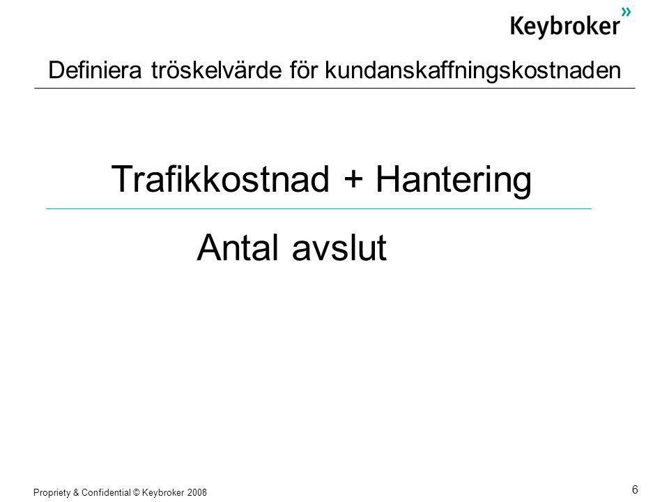 Propriety & Confidential © Keybroker 2008 6 Definiera tröskelvärde för kundanskaffningskostnaden Trafikkostnad + Hantering Antal avslut