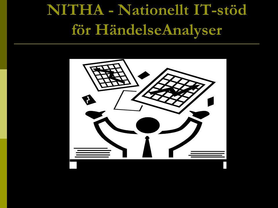 Hur får vi tillgång till IT-stödet  Ansluten till Sjunet  Lokal administratör för hantering av användare och organisation i NITHA  Superuser som är metodkunnig i Händelseanalys (kan vara samma person som lokal administratör)  1-2 per län Intresserad.