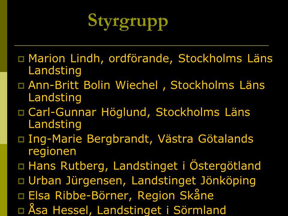 Styrgrupp  Marion Lindh, ordförande, Stockholms Läns Landsting  Ann-Britt Bolin Wiechel, Stockholms Läns Landsting  Carl-Gunnar Höglund, Stockholms