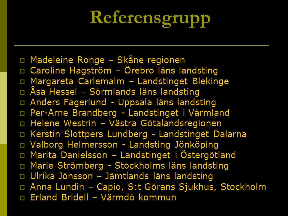 Referensgrupp  Madeleine Ronge – Skåne regionen  Caroline Hagström – Örebro läns landsting  Margareta Carlemalm – Landstinget Blekinge  Åsa Hessel