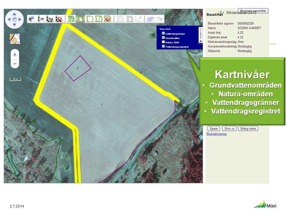 Stödansökan 20136 • Att radera kartkorrigeringar Radera kartkorrigering på valda basskiften Radera korrigeringar på alla basskiften 2.7.2014