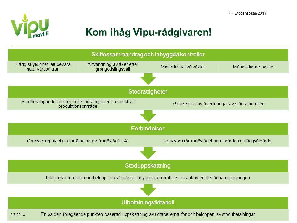 Kom ihåg Vipu-rådgivaren! Utbetalningstidtabell En på den föregående punkten baserad uppskattning av tidtabellerna för och beloppen av stödubetalninga