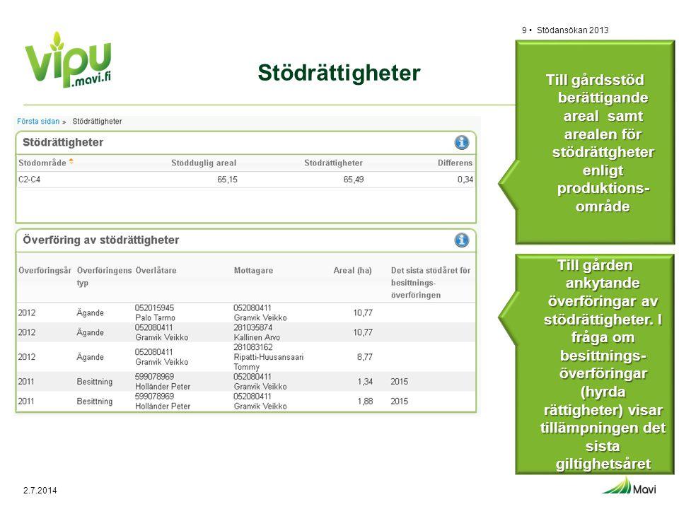Stödrättigheter Stödansökan 20139 • Till gårdsstöd berättigande areal samt arealen för stödrättgheter enligt produktions- område Till gården ankytande
