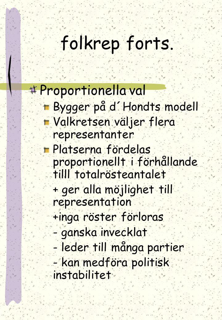 Olika sätt för val av folkrepresentanter Förutsättning: rösträtt Kan vara begränsad I Finland har man rösträtt från 18 års ålder Majoritetsval Vanligt