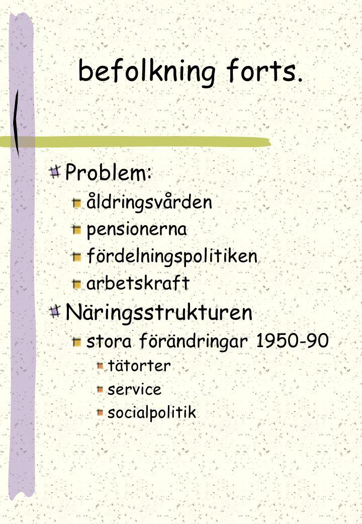 Befolkningen Några fakta: 5 milj. invånare 15 invånare/km Lappland 2/km Nyland 114/km Befolkningsstrukturen ojämn unga få c. 63.000 per årskulle åldri