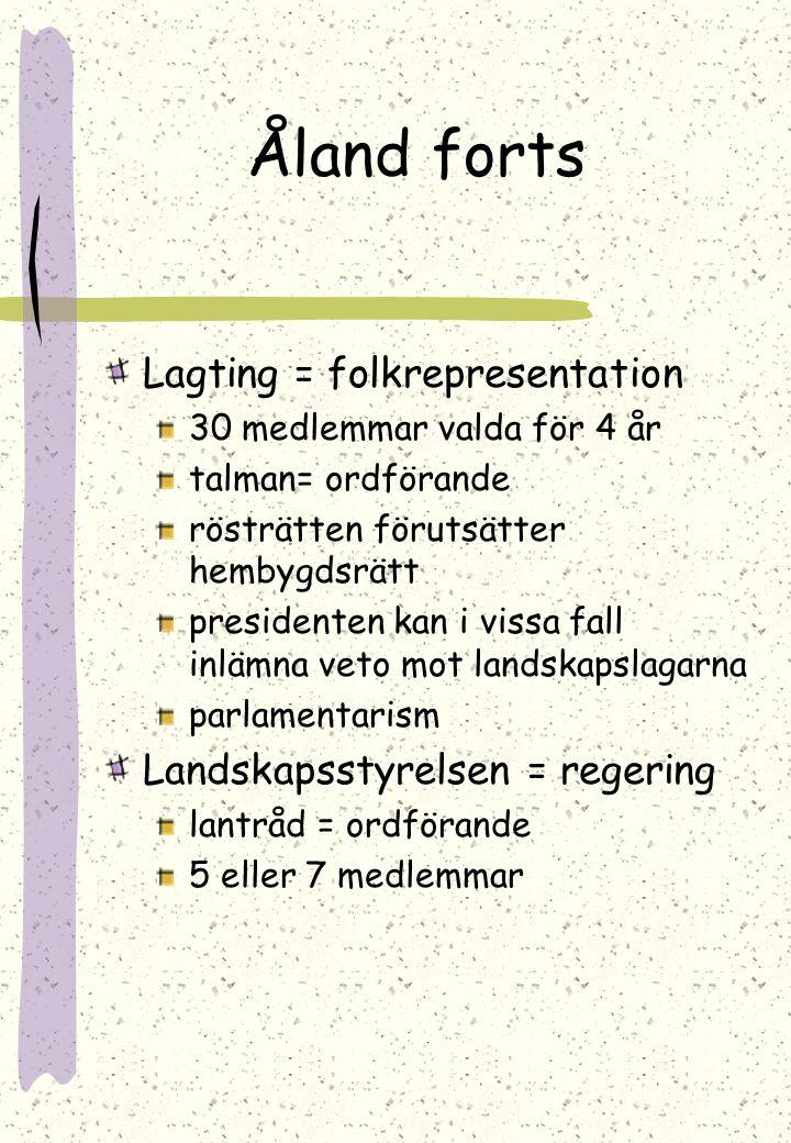 ÅLAND Landskap i Finland Självstyrande egen beslutande- och lagstiftningsrätt i gemensamma frågor som myntväsende och utrikespolitik gäller finska bes