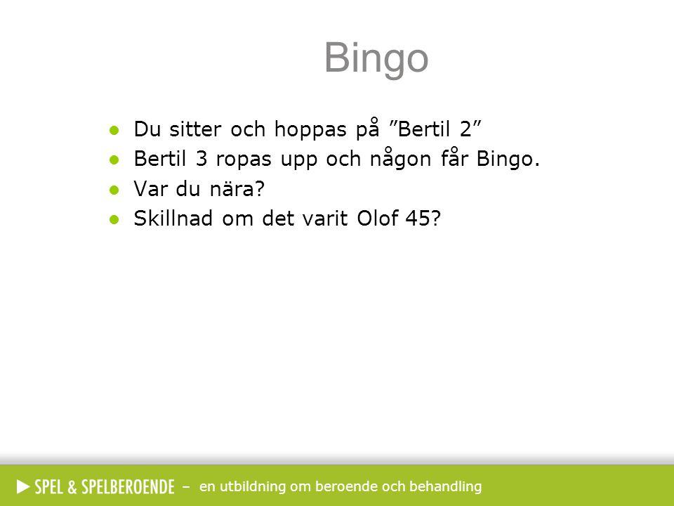 """– en utbildning om beroende och behandling Bingo  Du sitter och hoppas på """"Bertil 2""""  Bertil 3 ropas upp och någon får Bingo.  Var du nära?  Skill"""