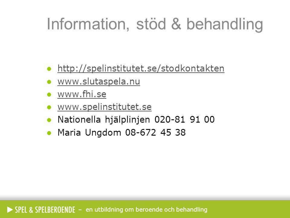 – en utbildning om beroende och behandling Information, stöd & behandling  http://spelinstitutet.se/stodkontakten http://spelinstitutet.se/stodkontak