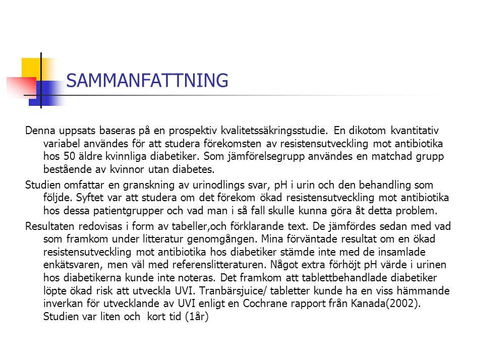 SAMMANFATTNING Denna uppsats baseras på en prospektiv kvalitetssäkringsstudie. En dikotom kvantitativ variabel användes för att studera förekomsten av