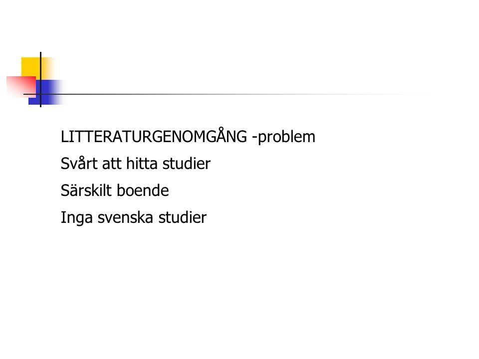 LITTERATURGENOMGÅNG -problem Svårt att hitta studier Särskilt boende Inga svenska studier