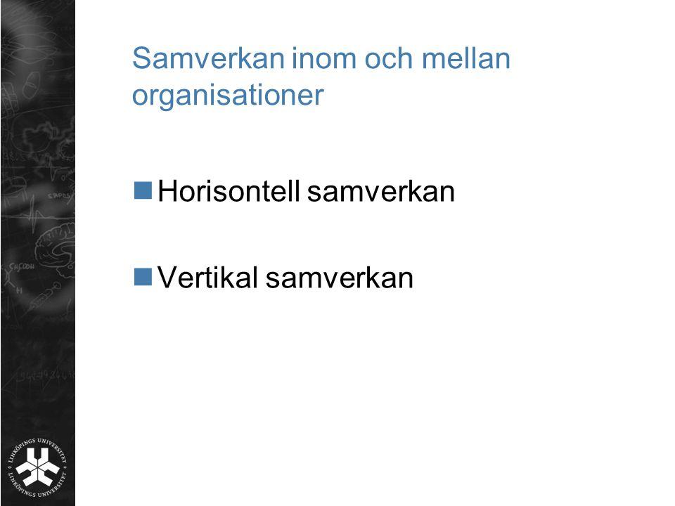 Samverkan inom och mellan organisationer  Horisontell samverkan  Vertikal samverkan