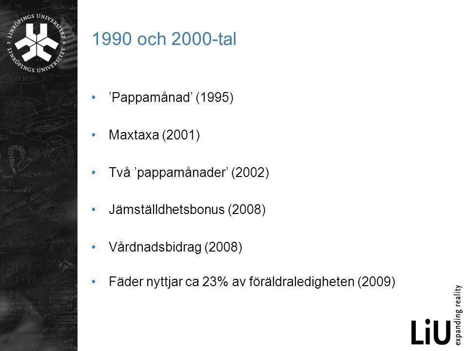 1990 och 2000-tal •'Pappamånad' (1995) •Maxtaxa (2001) •Två 'pappamånader' (2002) •Jämställdhetsbonus (2008) •Vårdnadsbidrag (2008) •Fäder nyttjar ca