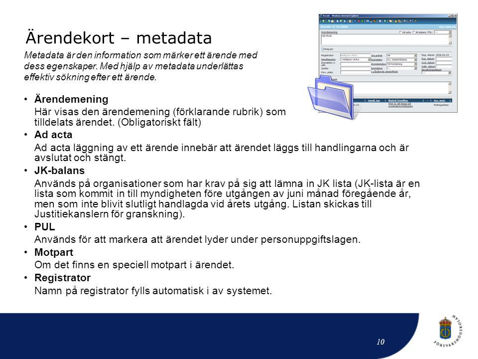 Ärendekort – metadata Metadata är den information som märker ett ärende med dess egenskaper. Med hjälp av metadata underlättas effektiv sökning efter