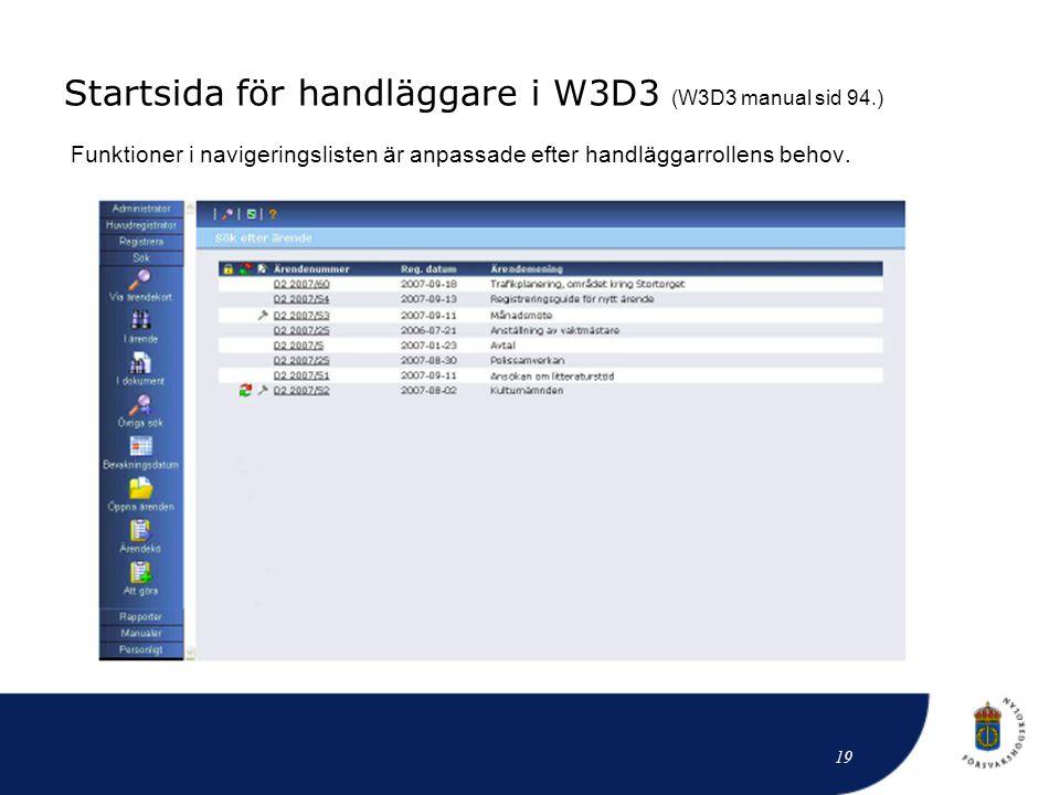 Startsida för handläggare i W3D3 (W3D3 manual sid 94.) Funktioner i navigeringslisten är anpassade efter handläggarrollens behov. 19