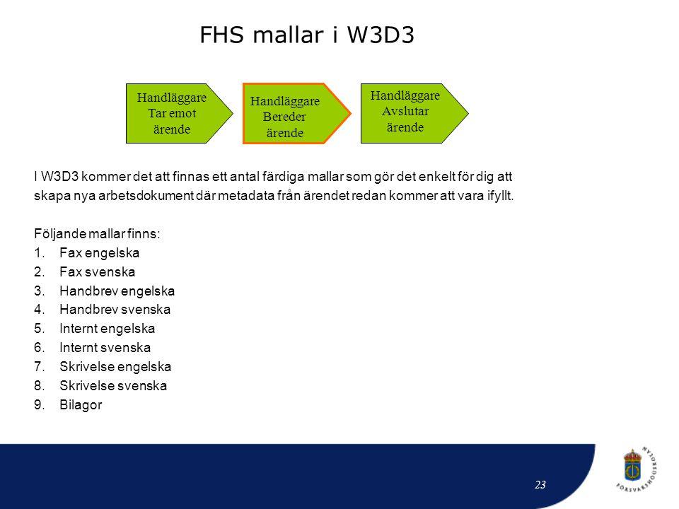 I W3D3 kommer det att finnas ett antal färdiga mallar som gör det enkelt för dig att skapa nya arbetsdokument där metadata från ärendet redan kommer a