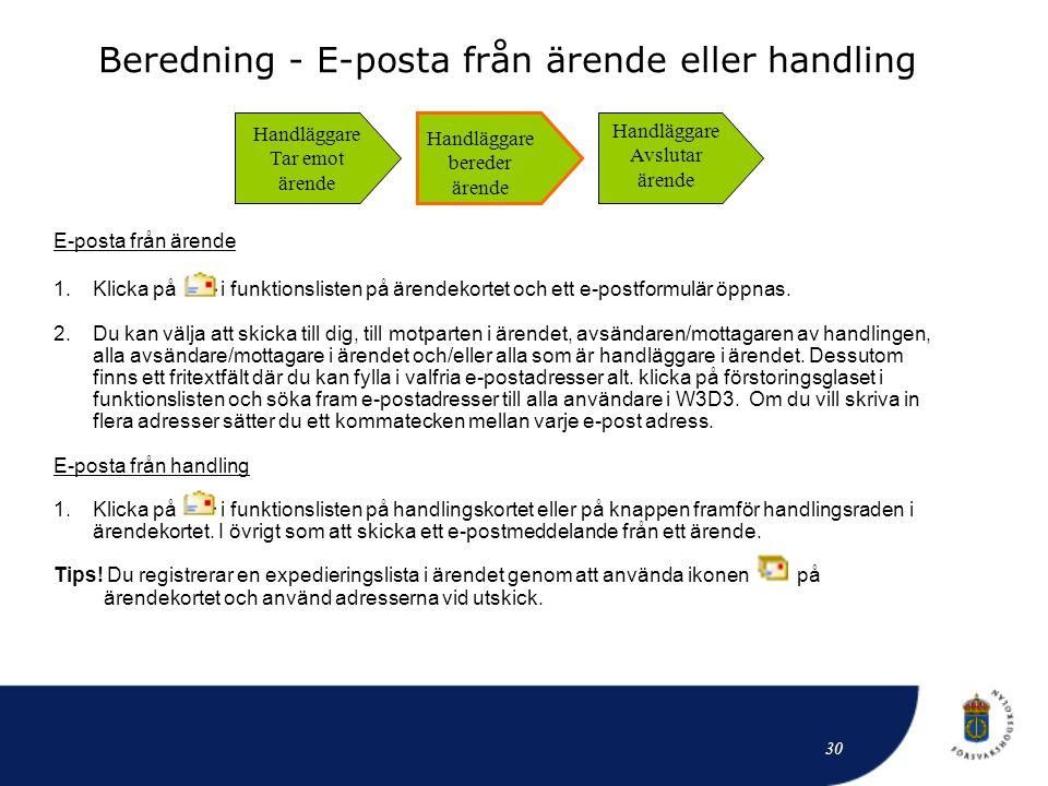 Beredning - E-posta från ärende eller handling E-posta från ärende 1.Klicka på i funktionslisten på ärendekortet och ett e-postformulär öppnas. 2.Du k