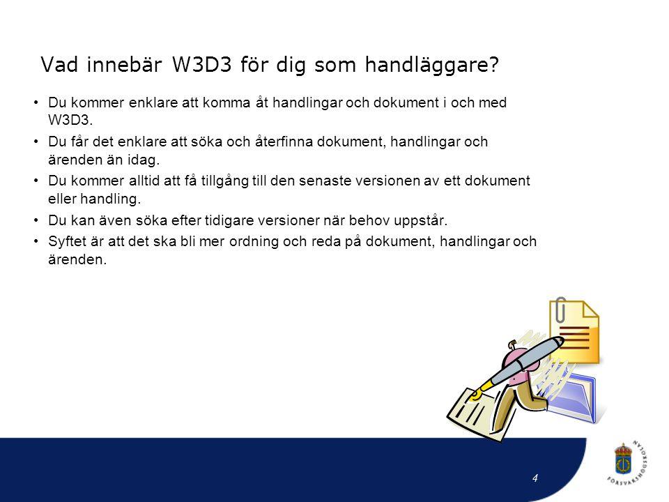Vad innebär W3D3 för dig som handläggare? • Du kommer enklare att komma åt handlingar och dokument i och med W3D3. • Du får det enklare att söka och å