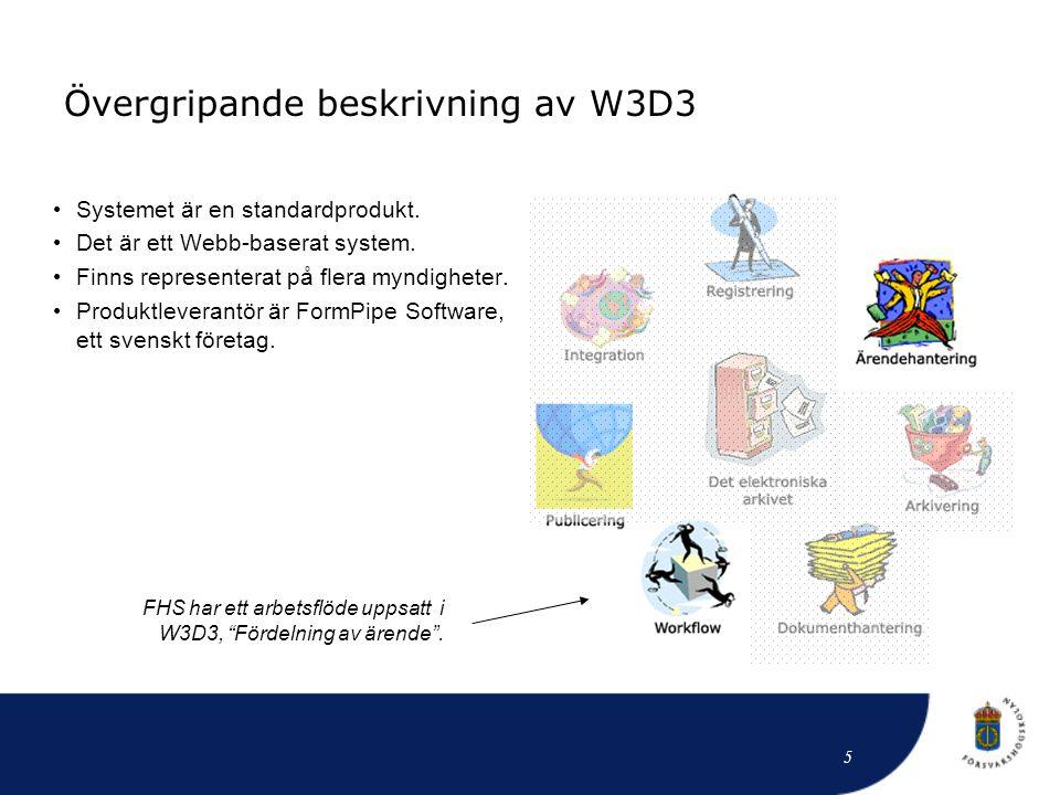 Övergripande beskrivning av W3D3 • Systemet är en standardprodukt. • Det är ett Webb-baserat system. • Finns representerat på flera myndigheter. • Pro