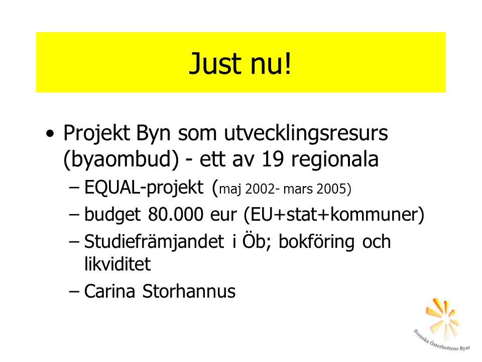 Just nu! •Projekt Byn som utvecklingsresurs (byaombud) - ett av 19 regionala –EQUAL-projekt ( maj 2002- mars 2005) –budget 80.000 eur (EU+stat+kommune