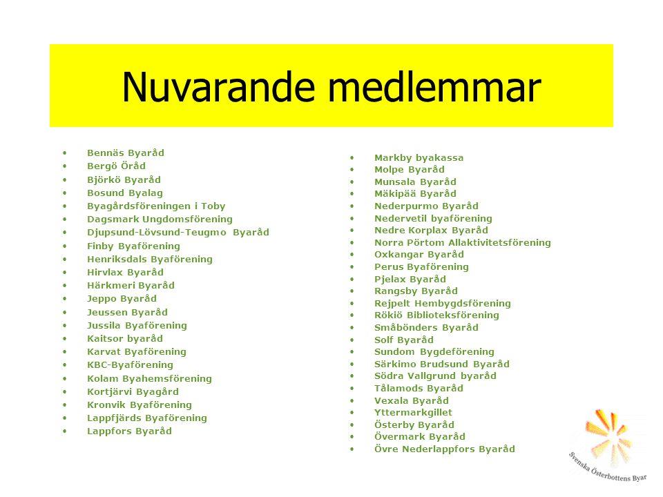 Nuvarande medlemmar •Bennäs Byaråd •Bergö Öråd •Björkö Byaråd •Bosund Byalag •Byagårdsföreningen i Toby •Dagsmark Ungdomsförening •Djupsund-Lövsund-Te