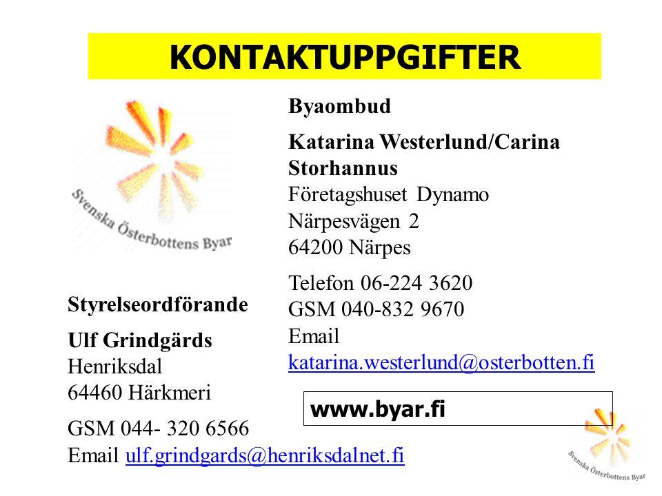 Styrelseordförande Ulf Grindgärds Henriksdal 64460 Härkmeri GSM 044- 320 6566 Email ulf.grindgards@henriksdalnet.fi Byaombud Katarina Westerlund/Carin