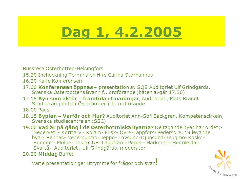 Dag 1, 4.2.2005 Bussresa Österbotten-Helsingfors 15.30 Incheckning Terminalen Hfrs Carina Storhannus 16.30 Kaffe Konferensen 17.00 Konferensen öppnas