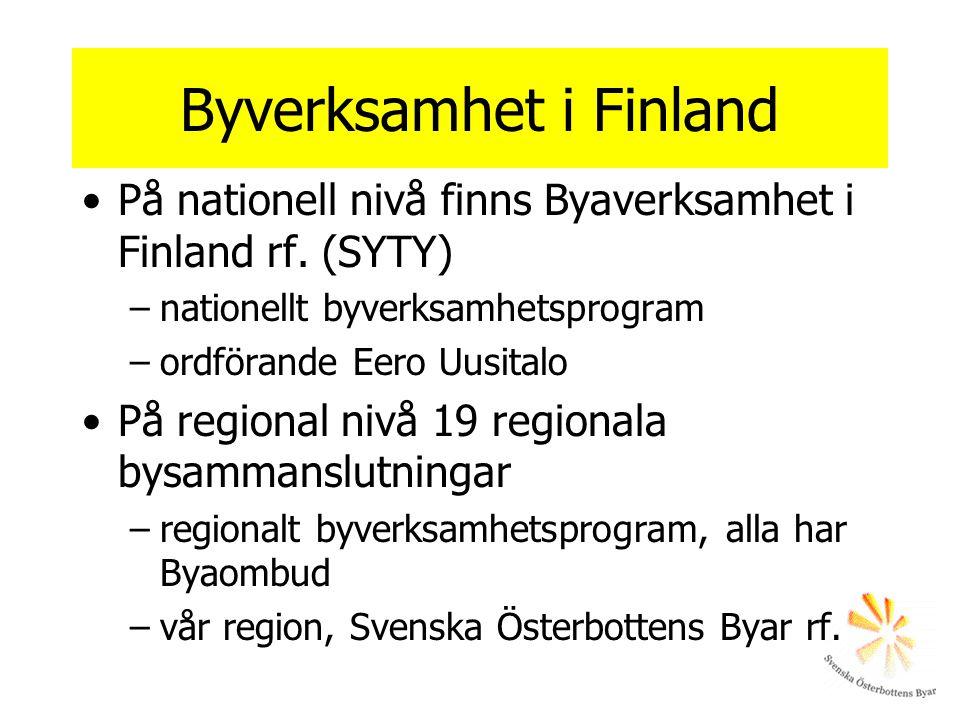 Byverksamhet i Finland •På nationell nivå finns Byaverksamhet i Finland rf. (SYTY) –nationellt byverksamhetsprogram –ordförande Eero Uusitalo •På regi