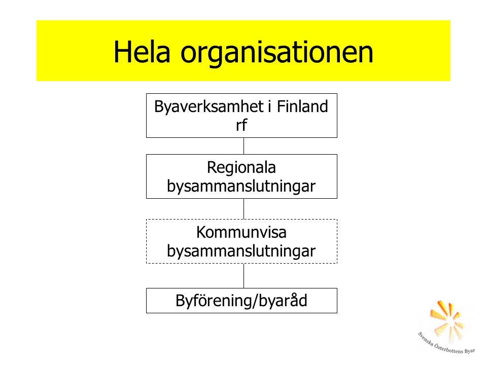 Hela organisationen Byaverksamhet i Finland rf Regionala bysammanslutningar Kommunvisa bysammanslutningar Byförening/byaråd