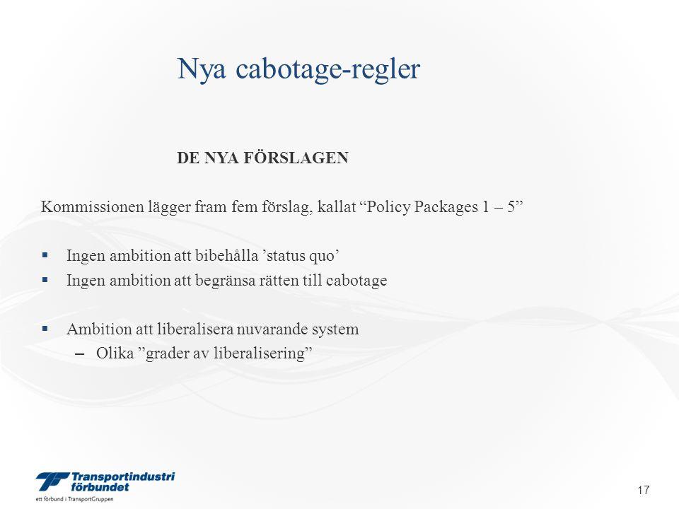 """Nya cabotage-regler DE NYA FÖRSLAGEN Kommissionen lägger fram fem förslag, kallat """"Policy Packages 1 – 5""""  Ingen ambition att bibehålla 'status quo'"""