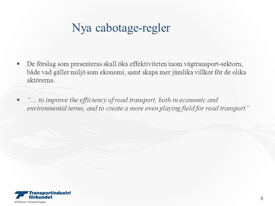 Nya cabotage-regler DE NYA FÖRSLAGEN Kommissionen lägger fram fem förslag, kallat Policy Packages 1 – 5  Ingen ambition att bibehålla 'status quo'  Ingen ambition att begränsa rätten till cabotage  Ambition att liberalisera nuvarande system – Olika grader av liberalisering 17