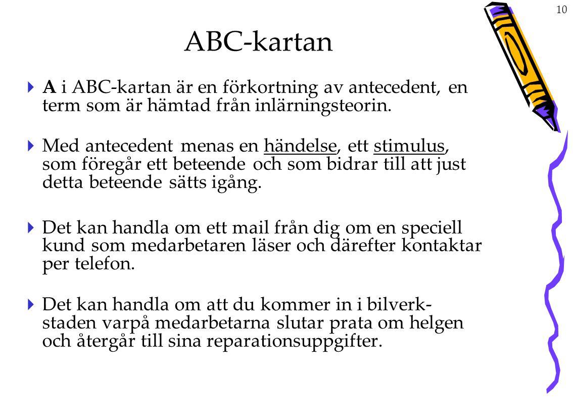 10 ABC-kartan  A i ABC-kartan är en förkortning av antecedent, en term som är hämtad från inlärningsteorin.