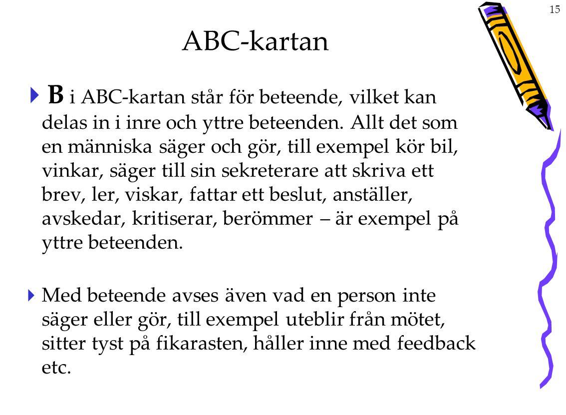 15 ABC-kartan  B i ABC-kartan står för beteende, vilket kan delas in i inre och yttre beteenden.